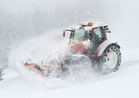 Austria, Tyrol, Obergurgl, snow-plowing service with snowplough - CVF01116