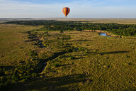 Air balloon floating over Mara River, Kenya - CUF47096