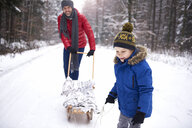 Content little boy and his father with sledge in winter forest - ABIF01128