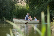 Father and children on boat ride in lake - CUF47429