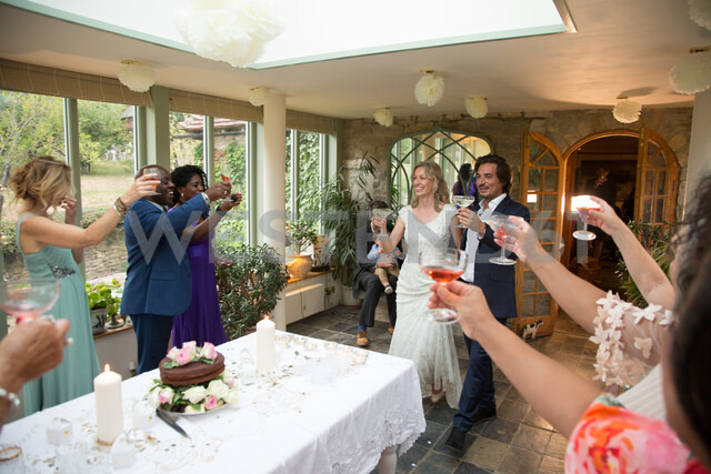 Wedding guests toasting to newlyweds at reception - CUF47480