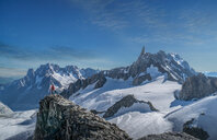 Hiker enjoying scenery, Chamonix-Mont-Blanc, Rhone-Alpes, France - CUF47486