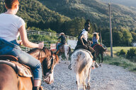 Adult friends riding horses on rural dirt track, rear view, Primaluna, Trentino-Alto Adige, Italy - CUF47522