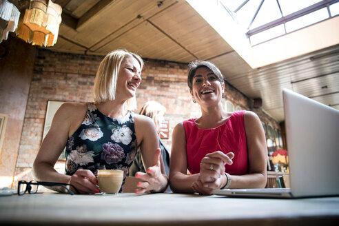 Women brainstorming business ideas in restaurant - CUF47723