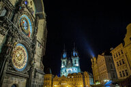 Church of Our Lady before Týn and Astronomical Clock tower, Old Town Square, Prague, Czech Republic - CUF47792