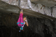 Trad climbing roof of My Little Pony route in Squamish, Canada - CUF47858