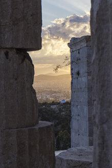 Greece, Athens, Acropolis, view through Propylaea towards observatory at sunset - MAMF00352