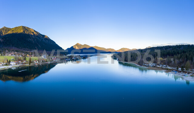 Germany, Bavaria, Upper Bavaria, Kochel am See, Lake Walchen in the evening - AMF06695