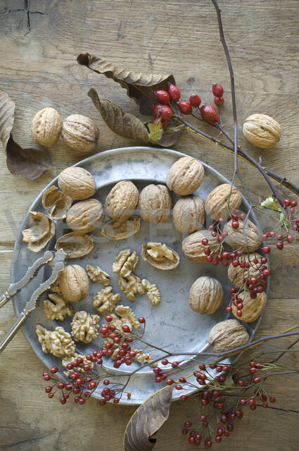 Whole and cracked organic walnuts, roseships and nutcracker on tin plate - ASF06266