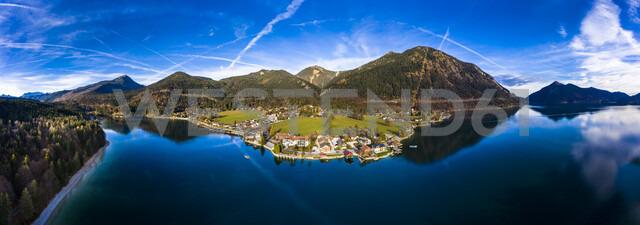 Germany, Bavaria, Upper Bavaria, Lake Walchen, Kochel am See in the evening - AMF06702
