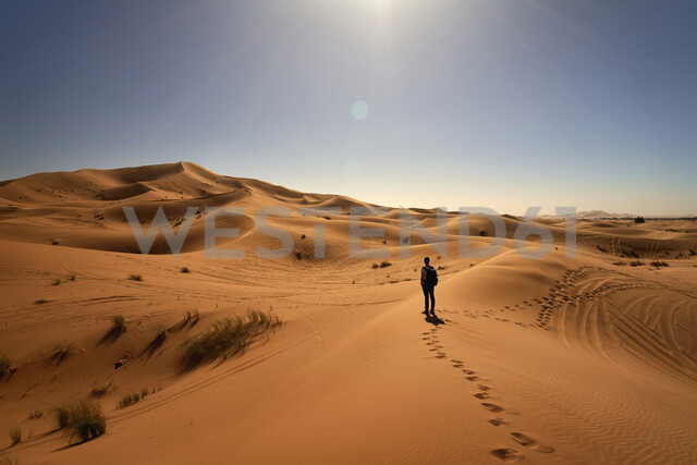 Morocco, man standing on desert dune looking at view - EPF00545