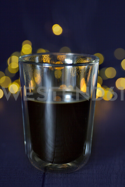 Glass of hot black coffee, close-up - JESF00203
