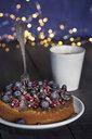 veganer Kuchen mit Heidelbeeren und Granatapfelkernen, außerdem Schokoladenüberzug - JESF00206