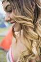 Close up portrait smiling young woman with hombre hair - HEROF05297
