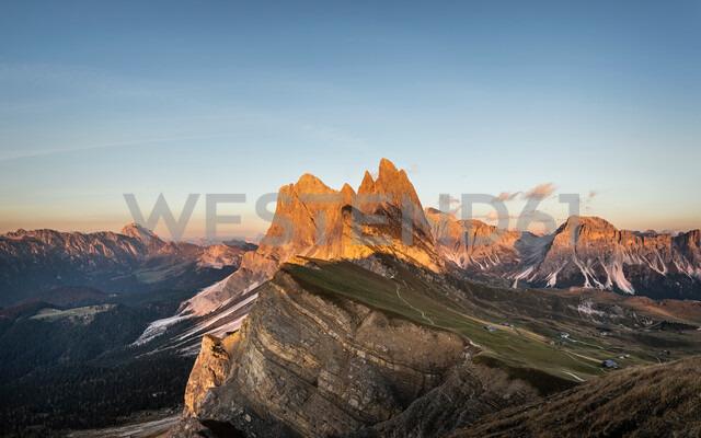 View into Geislergruppe, Santa Cristina in Val Gardena, Dolomites, Trentino-Alto Adige, Italy - CUF48285