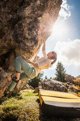 Bouldering, Città dei Sassi or Steinerne Stadt, Dolomites - CUF48288