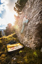 Bouldering, Città dei Sassi or Steinerne Stadt, Dolomites - CUF48291