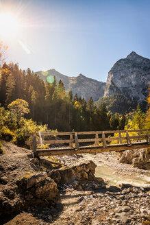 Bridge over river, Karwendel region, Hinterriss, Tirol, Austria - CUF48309