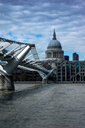 Millennium Bridge over River Thames, St Paul's Cathedral in background, London, England, UK - CUF48372