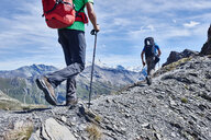 Hikers on ridge, Mont Cervin, Matterhorn, Valais, Switzerland - CUF48381