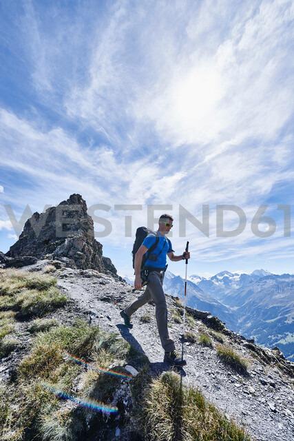 Hiker in Mont Cervin, Matterhorn, Valais, Switzerland - CUF48384