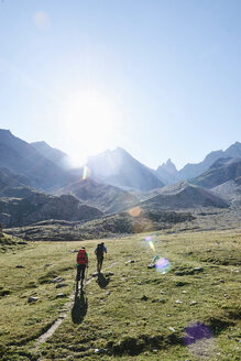 Hiker friends in Mont Cervin, Matterhorn, Valais, Switzerland - CUF48444