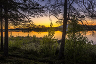 Midnight sun over a lake in Arjeplog, Sweden - FOLF10302