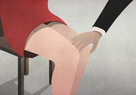 Businessman touching womans knee - FSIF03711