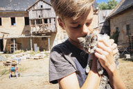 Affectionate boy kissing kitten on sunny farm - FSIF03726