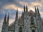 Italy, Milan, facade of Milan Cathedral at sunrise - LOMF00794