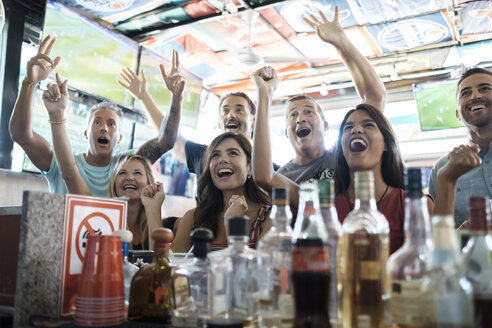 Excited fans cheering in a sports bar - ABAF02233