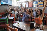 Excited fans cheering in a sports bar - ABAF02236