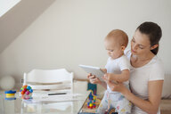 Mother and little daughter using tablet together at home - DIGF05629