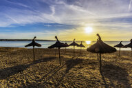 Spain, Mallorca, El Arenal, beach at sunrise - THAF02414
