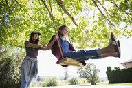 Sisters swinging on tree swing in sunny summer yard - HEROF05925