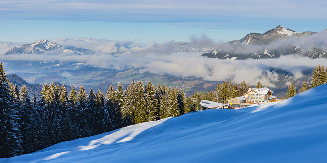 Germany, Bavaria, Panoramic view of Soellereck top station with Illertal and Gruenten in winter - WG01289