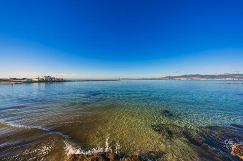 Spain, Mallorca, beach near Portixol - THAF02426