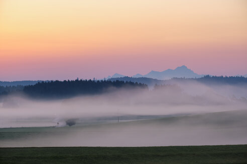 Germany, Bavaria, Alpine foothills near Dietramszell, dawn with fog - SIEF08345