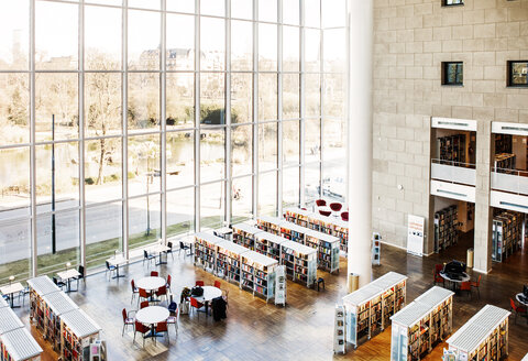 High angle view of library with glass windows - ASTF02605