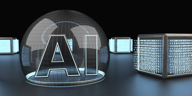 Digital units with the text AI - Artificial Intelligence. 3d Illustration. - ALF00737