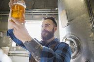 Brewery worker examining beer in beaker - HEROF06893