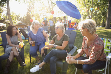 Female neighbors talking and drinking at summer neighborhood block party in sunny park - HEROF07208
