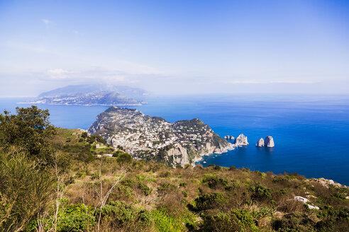Italy, Campania, Gulf of Naples, Capri Island, Anacapri, view of famous Faraglioni rocks from Monte Solaro - FLMF00105