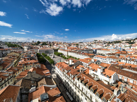 Portugal, Lisboa, cityscape with Rossio Square and Dom Pedro IV monument - AMF06721