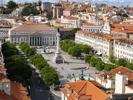 Portugal, Lisboa, cityscape with Rossio Square, Teatro Nacional D. Maria II and Dom Pedro IV monument - AMF06724