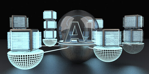 3D rendering, Text AI under a glass dome connencted to a network of digital cubic units - ALF00740