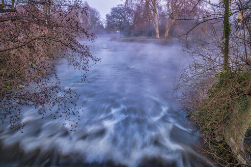 Grevenbroich, Erft river, weir and fog in the evening - FRF00810