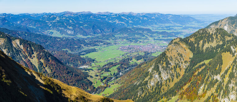 Germany, Bavaria, Allgaeu, Allgaeu Alps, Panoramic view from Kegelkopf to Oberstdorf - WGF01291