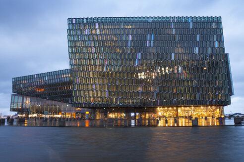 Iceland, Reykjavik, lighted Harpa concert hall - WIF03798