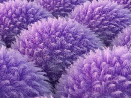 Lila Hair Anemonen, 3D Rendering, digital generiert, Anemone, Haare, wuschelig, Kugel, Ball, Muster, abstrakt, Konzept, Idee, Innovation, Kreativität, HIntergrund, Entschleunigung, Inspiration, Individualität, Harmonie, Balance, Vision, Horizontal, lila - AHUF00553
